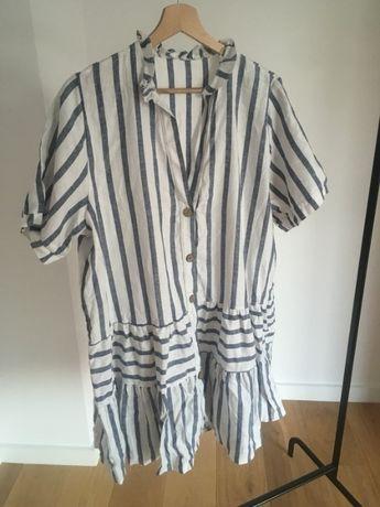 Nowa Bawełniana sukienka oversize paski niebieskie białe s/m nowa