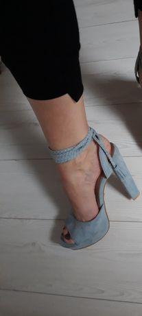 Mega buciki wiązane Blue ,ala zamszyk 39