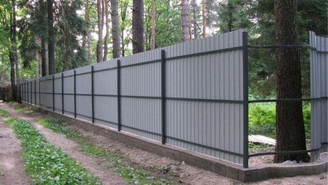 Забор из профнастила, сетка рабица, ворота, навесы