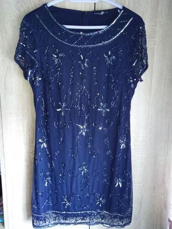 Sukienka, suknia. Wieczorowa, elegancka. Granatowa. BOOHOO XXL/44