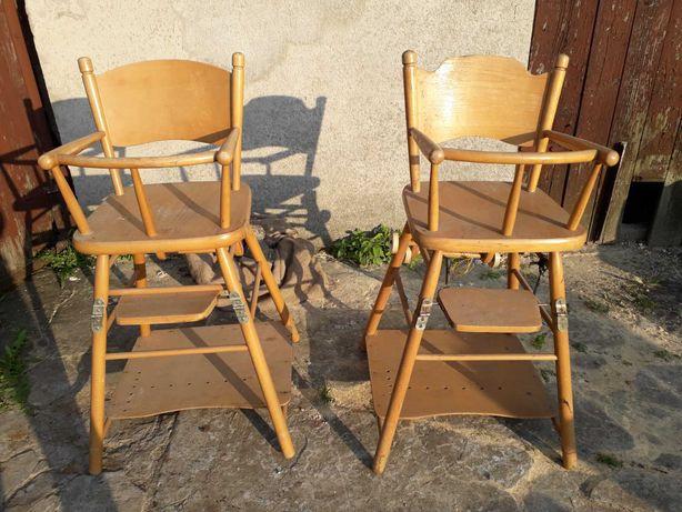 Krzesełko do karmienia prl drewniane retro vintage