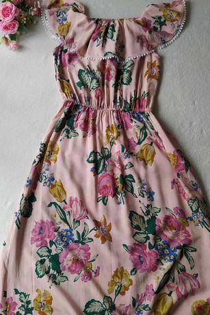 Sukienka maxi długa damska letnia kwiaty 40 42 L XL