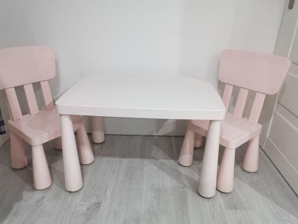 Zestaw stolik i 2 krzesła mammut ikea