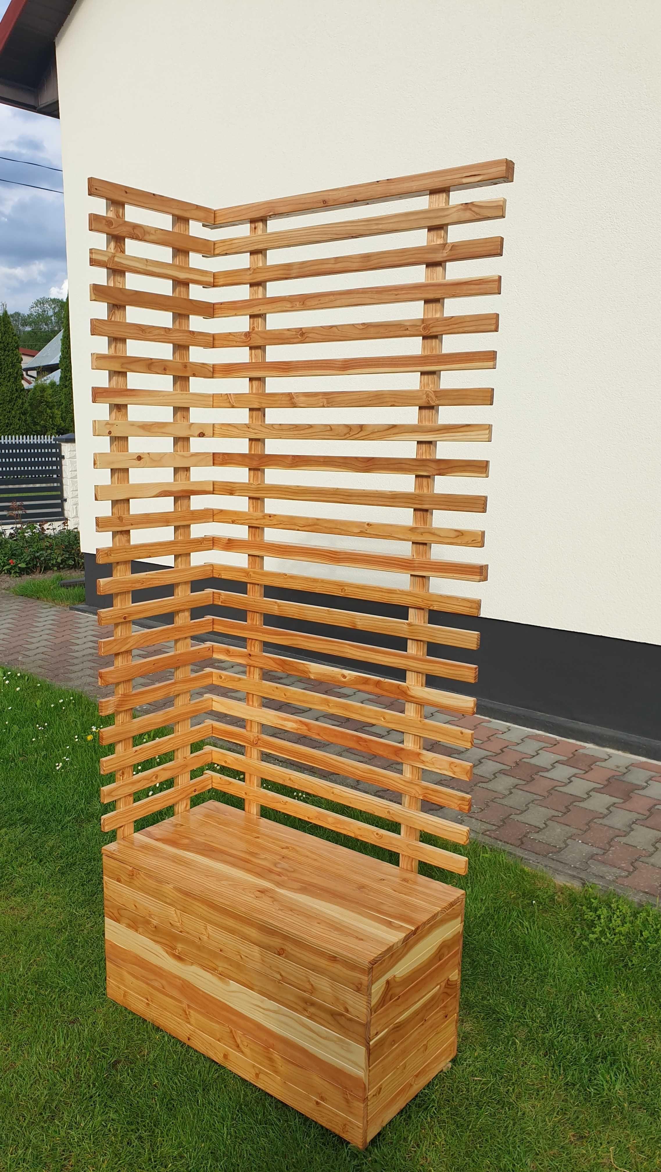 Nowoczesna skrzynia donica drewniana pergola drabinka balkonowa