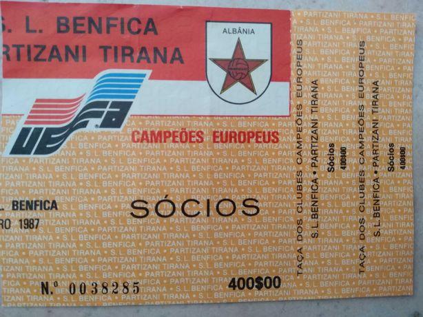 Bilhete Liga dos Campeões Europeus Benfica-Partizani 1987