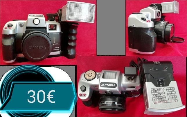Máquinas fotográficas e de costura. Fonte de água