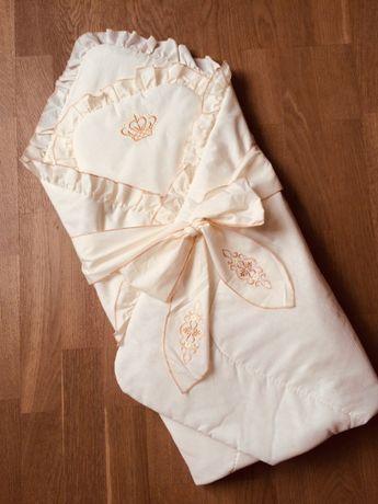 Конверт-одеяло на выписку/крестины + подушка в коляску