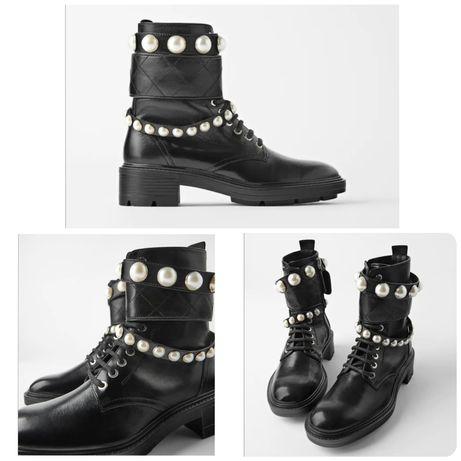 Кожаные ботинки ZARA 37р.