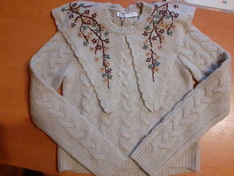 Zara sweter z kolnierzykiem z haftem 36 S