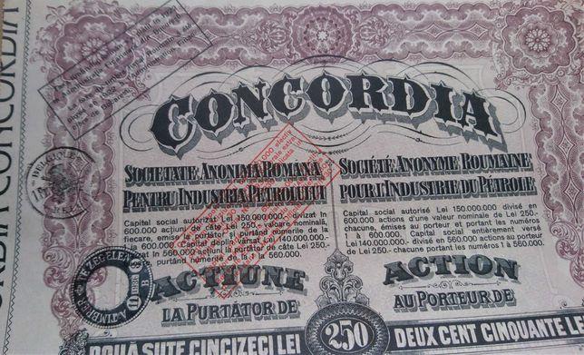 Certificado Ações- 1924-Concordia - Romanian Oil share Certificate