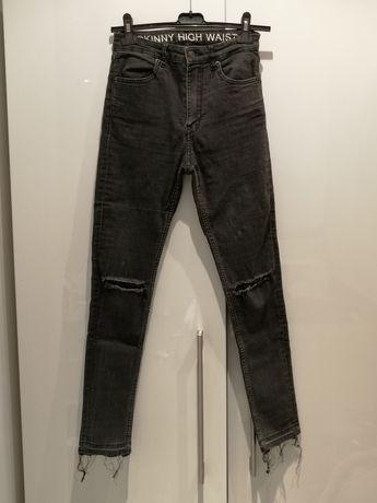 Czarne spodnie jeansy h&m wysoki stan S