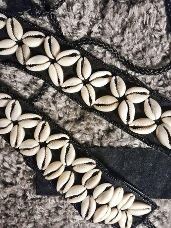 Pasek hippie boho etniczny muszle muszelki handmade wiązany czarny