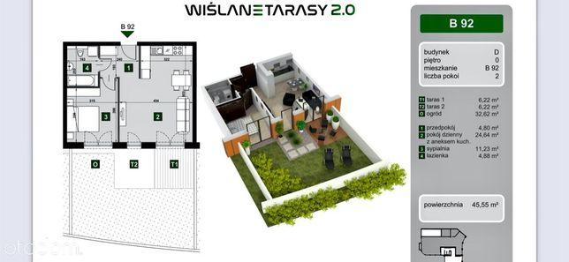 Wiślane Tarasy 2.0 parter 45,55 m2 + 45 m2 taras