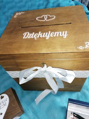 Drewniana skrzynka na koperty pudełko na obrączki