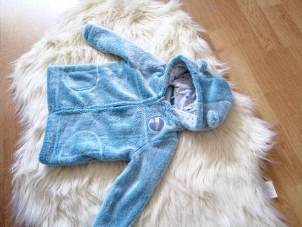 Niebieska bluza polarowa 80 z kapturkiem i uszkami