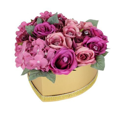 DUŻY Bukiet FlowerBox MIX hortensje i róże w złotym SERCU Dzień Babci