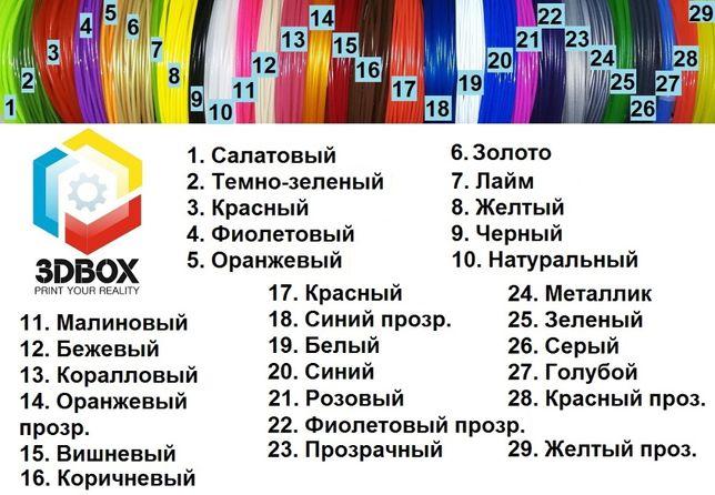 Дешевле нет! 3д-пластик PLA для 3D-ручки 30 цветов+светящийся (Украина