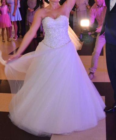 Sprzedam- przepiękna suknia ślubna - ksieżniczka 38 + bolerko + welon