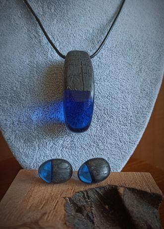 Komplet biżuterii- wisiorek i kolczyki- rękodzieło