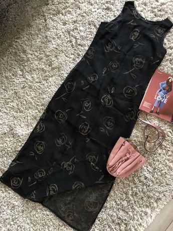 Чёрное итальянское платье - сетка в пол