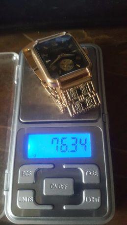 Золотые часы Мак тайм с золотым ленинградским браслетом проба 583
