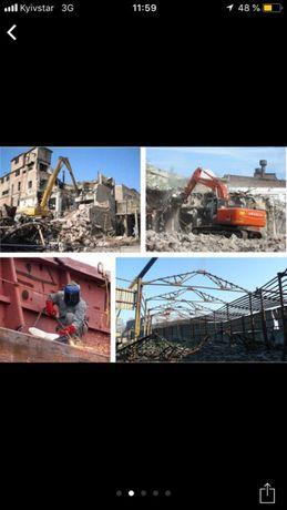 Вывоз мусора и Демонтаж зданий Аренда экскаватора гидромолота в Одессе