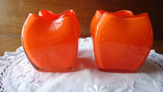 Par de jarrinhas antigas (cachepots) em vidro coalhado