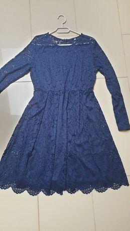 Granatowa koronkowa sukienka xl