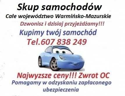 Skup aut całe województwo Warmińsko-Mazurskie/Kazdy stan i rocznik.