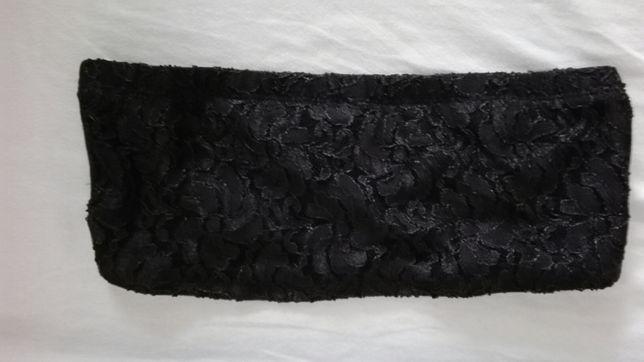 Biusztonosz bandeau czarny koronka s