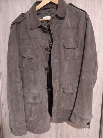 Dłuższa kurtka męska Vera Pelle L szara zamsz guziki jesień wiosna