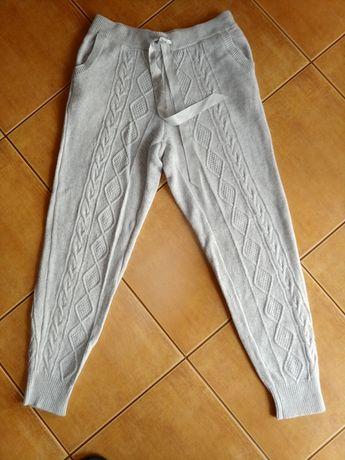 Spodnie dzianinowe next s m small warkocze kaszmir