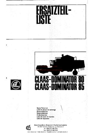 Katalog części kombajn claas Dominator 80-85