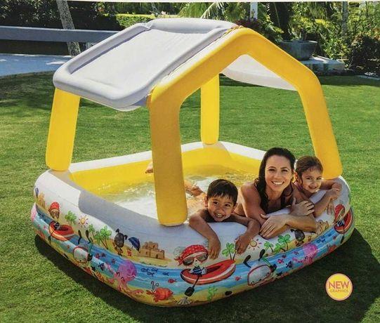 Детский надувной бассейн intex аквариум съёмная крыша 280 литров