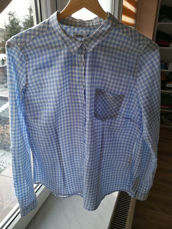 Koszula w niebiesko-białą kratkę kratę SinSay
