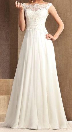 3Koronkowa suknia ślubna, delikatna, lekka, z salonu Nabla, z halką