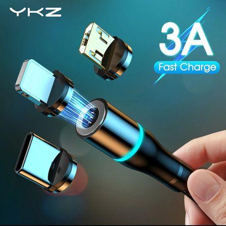 PROMO Kabel USB magnetyczny YKZ 3A  końcówka microUSB Lighting Usb-c