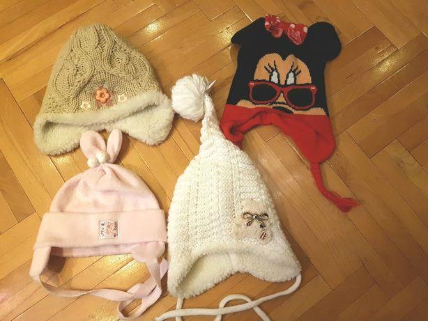 Czapki zimowe dziewczęce ciepłe czapeczki futerko disney myszka zestaw