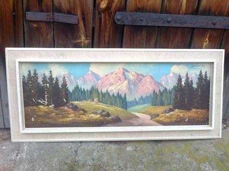 obraz stary duzy sliczny recznie malowany na plotnie unikat starocie