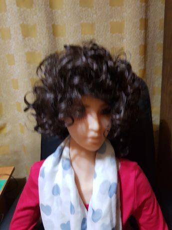 Peruka damska , ciemny brąz,  kręcone włosy