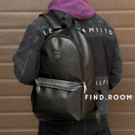 Рюкзак philipp plein кожаный черный экокожа мужской портфель