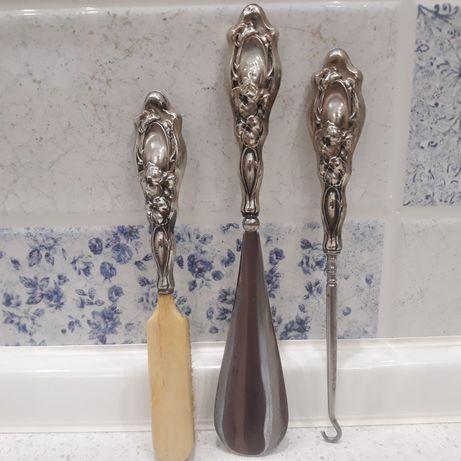 Набор для обуви серебро, рожок, щетка, крючок