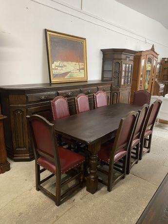 Jadalnia dębowa/ Lite drewno/8 krzeseł/Komplet/ŁADNA/RATY