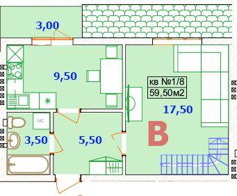 Двухъярусная квартира 60м2. рядом с Епицентр (МОДУЛЬ) Буча 1 км