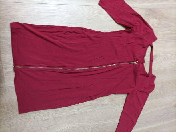 Sukienka zamek tył elastyczna hoker burgund