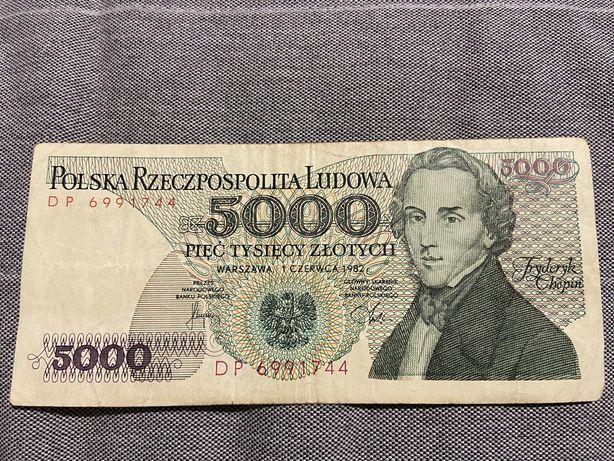 Bankot 5000 zlotych z 1982 roku