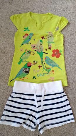 Next szorty krótkie spodenki + nowa bluzeczka ptaszki 110
