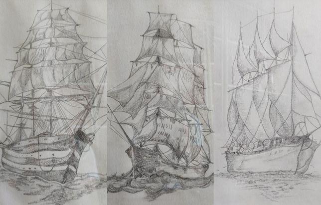 Statki szkice x 3
