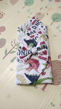 Продам новый конверт на выписку, одеяло, плед