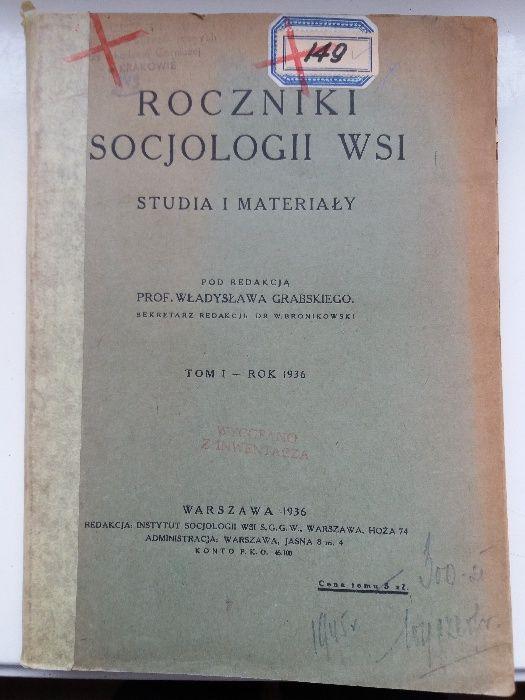 Roczniki socjologii wsi 1936 Kraków - image 1